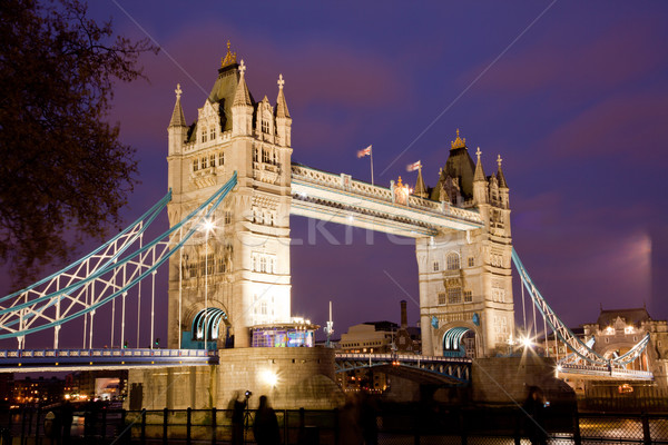 Londen Tower Bridge panorama schemering Engeland brug Stockfoto © vichie81