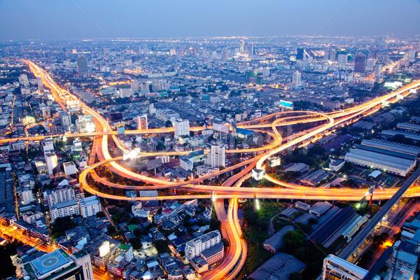 Bangkok snelweg luchtfoto schemering Thailand hemel Stockfoto © vichie81