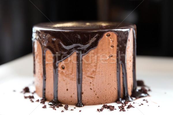 Mus czekoladowy lawa ciasto biały naczyń czekolady Zdjęcia stock © vichie81
