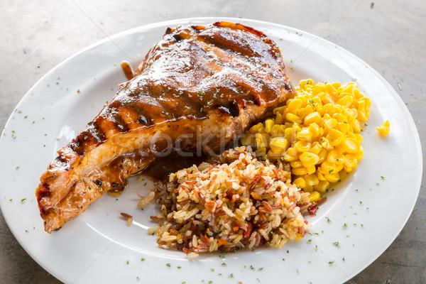 Grillezett disznóhús kotlett gurmé fő- főfogás Stock fotó © vichie81