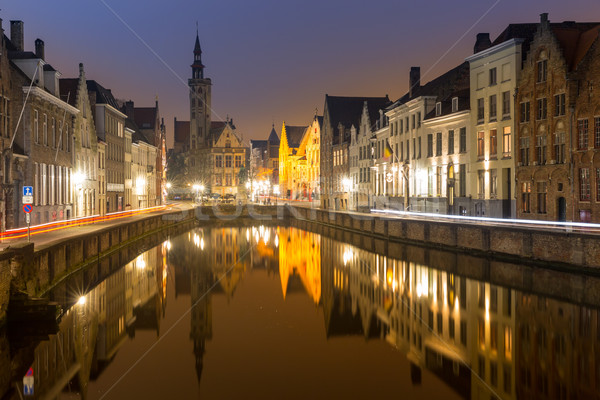 Belçika gece ortaçağ binalar gökyüzü Stok fotoğraf © vichie81