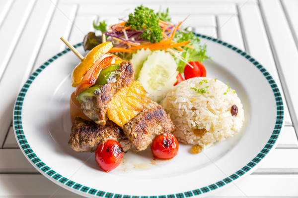 grilled beef skewer with rice Stock photo © vichie81