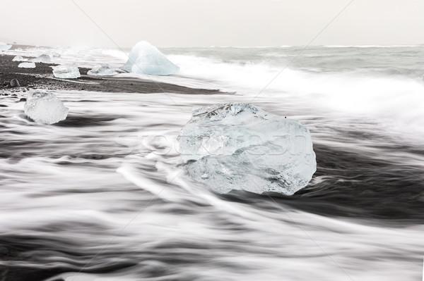 氷山 ダイヤモンド ビーチ 氷河 日没 風景 ストックフォト © vichie81