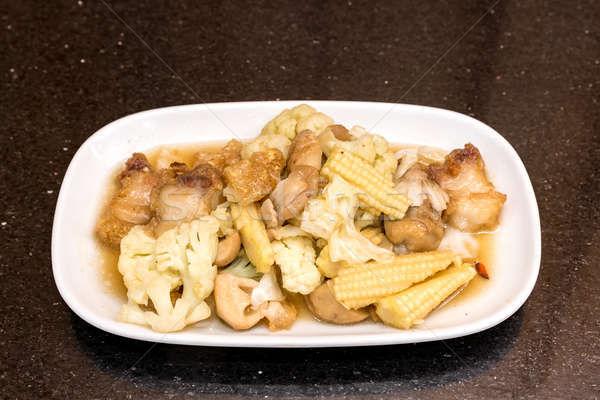 Frito vegetales crujiente cerdo alimentos Foto stock © vichie81