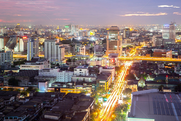 Bangkok centrum luchtfoto business hemel kantoor Stockfoto © vichie81