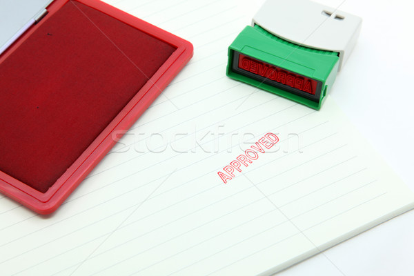 Stock photo: approved stamp on paper with rubber stamp