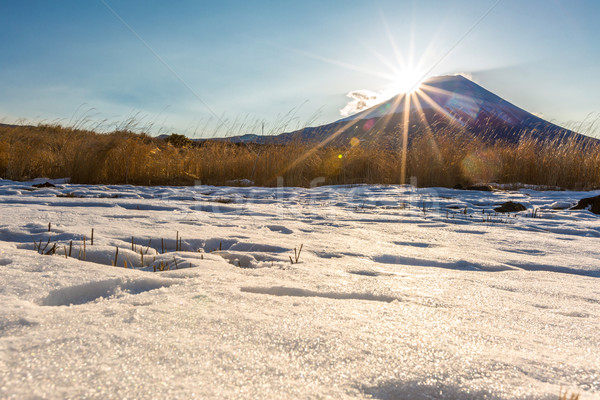 Stockfoto: Berg · fuji · zonsopgang · diamant · winter · landschap