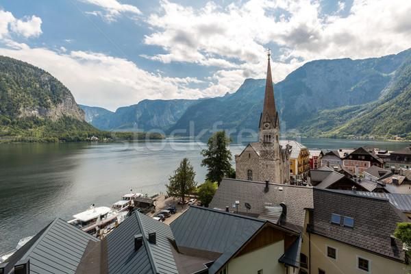 Stockfoto: Dorp · schemering · klassiek · alpen · Oostenrijk