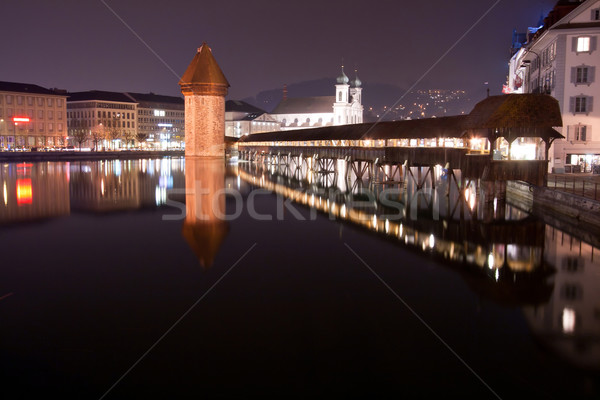 Chapel bridge Lucern Night Stock photo © vichie81