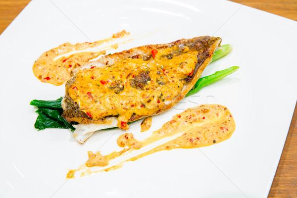 barramundi steak with spicy sauce Stock photo © vichie81