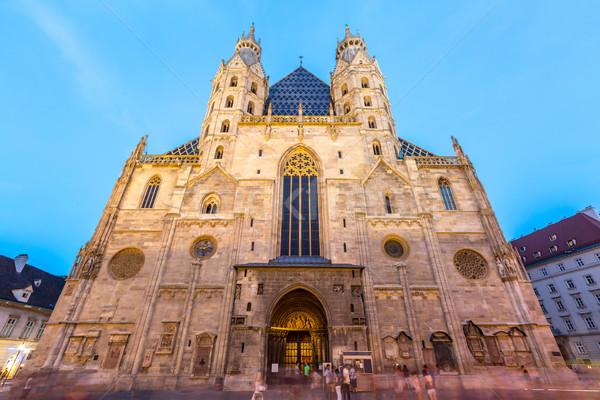 Vienna cattedrale Austria crepuscolo nubi costruzione Foto d'archivio © vichie81