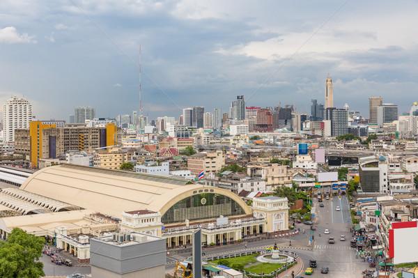 Bangkok merkezi tren istasyonu gün batımı ufuk çizgisi Cityscape Stok fotoğraf © vichie81