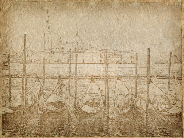vintage Paper with gondola in Venice Stock photo © vichie81
