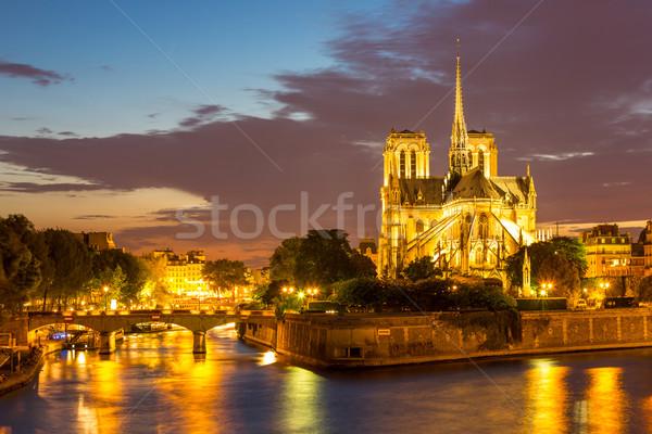 Catedral de Notre Dame Paris crepúsculo França água edifício Foto stock © vichie81