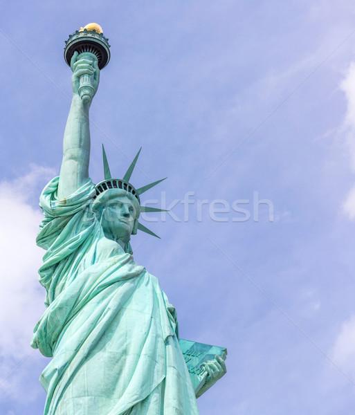 Heykel özgürlük panorama New York ABD gökyüzü Stok fotoğraf © vichie81
