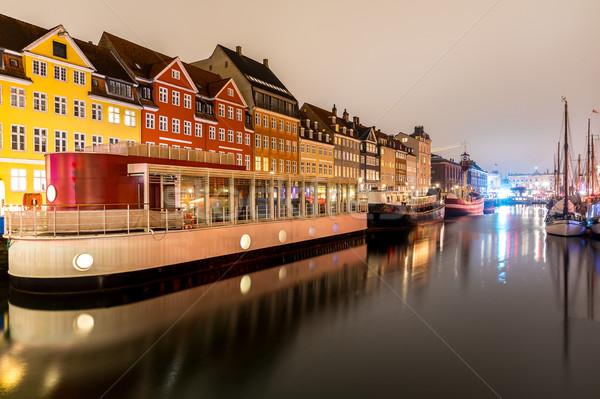 Копенгаген Дания новых порта ночь воды Сток-фото © vichie81