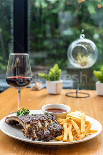 Grilled Pork rib dining table Stock photo © vichie81