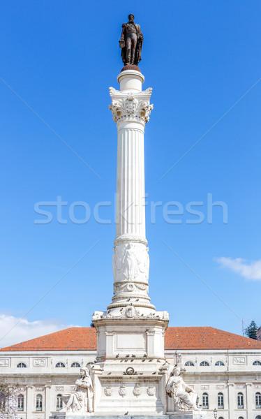 Vierkante Lissabon standbeeld Portugal water boom Stockfoto © vichie81