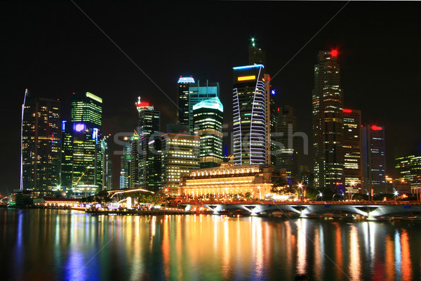 Stockfoto: Singapore · wolkenkrabber · nacht · business · gebouw · skyline