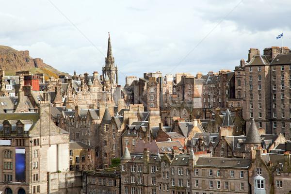 Edinburgh épület Skócia város templom sziluett Stock fotó © vichie81