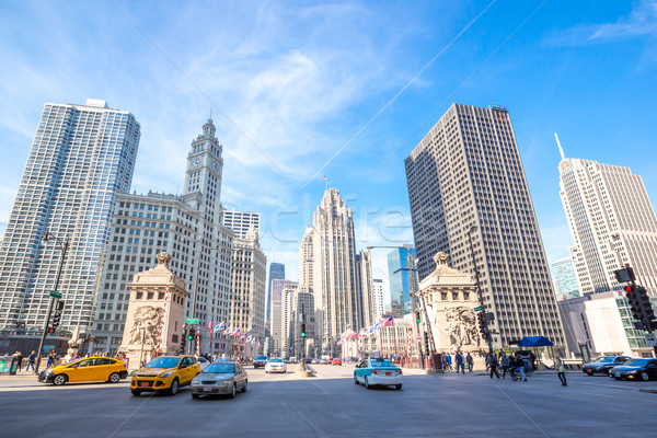 Chicago centro città USA cielo tramonto Foto d'archivio © vichie81