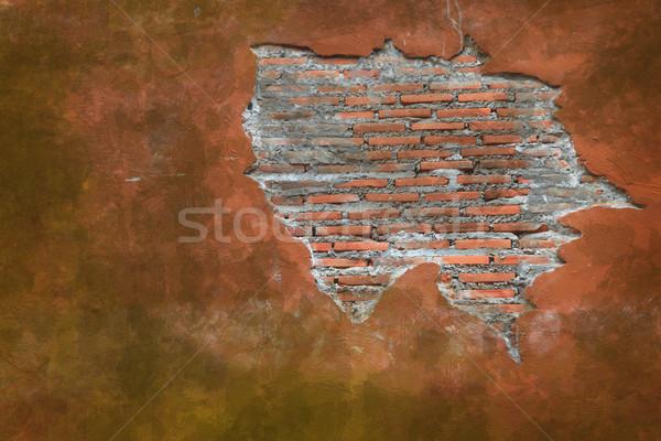 Grunge verweerde vintage fragment Rood baksteen Stockfoto © vichie81