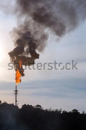 Szennyezés olaj torony füst boglya égbolt Stock fotó © vichie81
