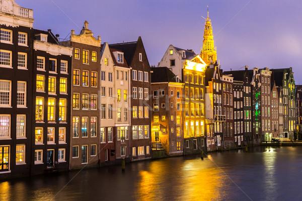 Stok fotoğraf: Amsterdam · akşam · karanlığı · aziz · kilise · Hollanda · su