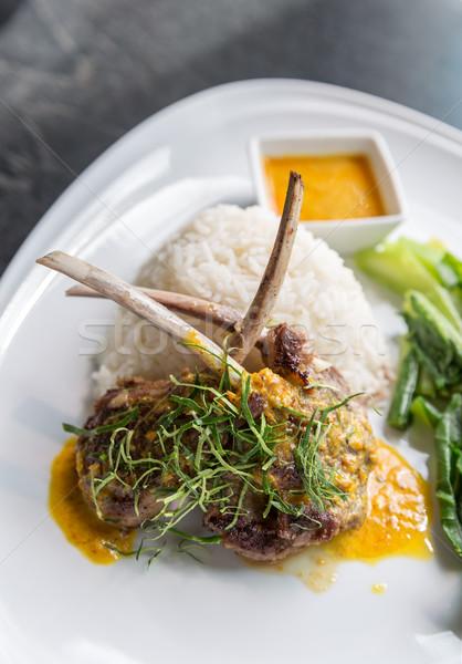 гриль ягненка стейк риса пряный желтый Сток-фото © vichie81