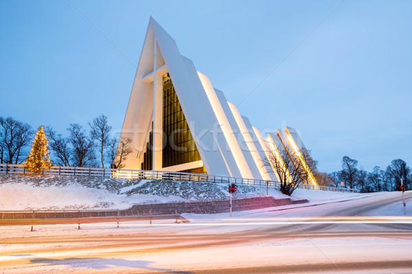 ártico catedral Noruega igreja crepúsculo crepúsculo Foto stock © vichie81
