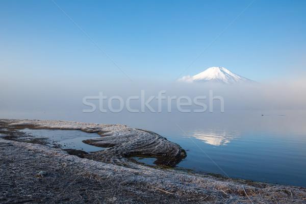 Dağ fuji yansıma buğu gökyüzü su Stok fotoğraf © vichie81