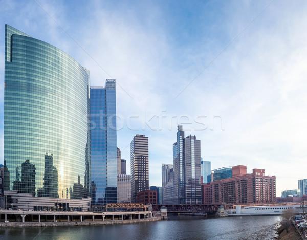 Chicago centre-ville rivière ponts urbaine Skyline Photo stock © vichie81