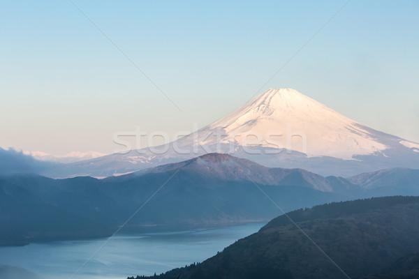Fuji dağ göl gündoğumu kış su Stok fotoğraf © vichie81
