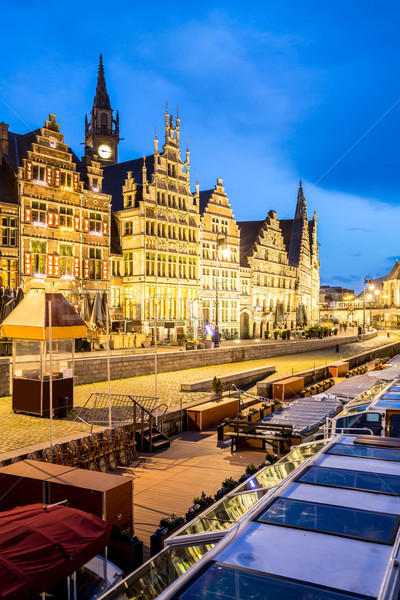 Belçika resmedilmeye değer ortaçağ binalar nehir Stok fotoğraf © vichie81
