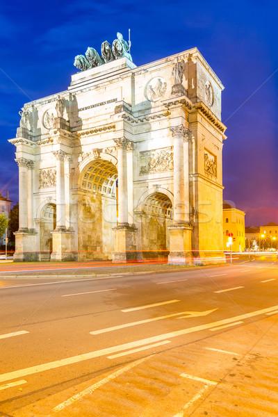 победу арки Мюнхен сумерки движения вокруг Сток-фото © vichie81