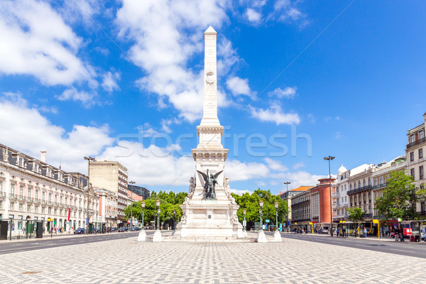 квадратный Лиссабон Португалия статуя Панорама улице Сток-фото © vichie81