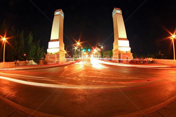 ışık iz çelik köprü Bangkok liman Stok fotoğraf © vichie81