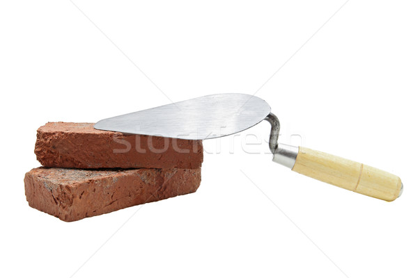 construction lute trowel with red brick Stock photo © vichie81