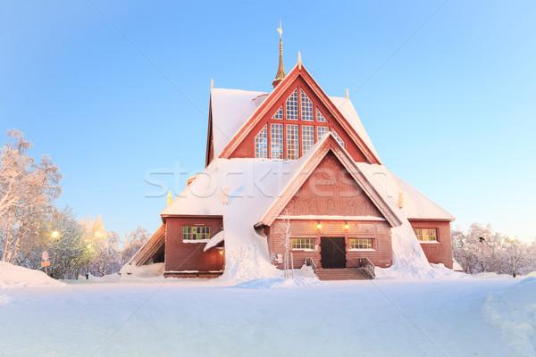 Kathedraal kerk Zweden kerkarchitectuur schemering schemering Stockfoto © vichie81