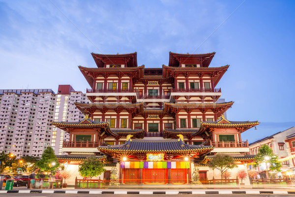 Singapore buddha tooth relic temple at dusk Stock photo © vichie81