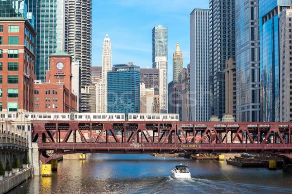Chicago belváros folyó város hidak égbolt Stock fotó © vichie81