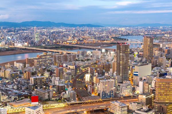 Osaka Bina gün batımı Japonya şehir binalar Stok fotoğraf © vichie81