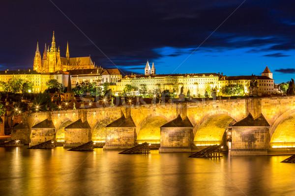 Naplemente Csehország kilátás híd torony Prága Stock fotó © vichie81