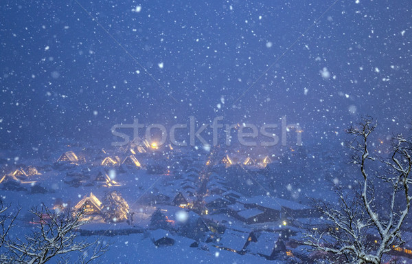 Sneeuwval Japan gebouw straat sneeuw winter Stockfoto © vichie81