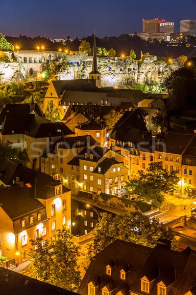 Luxemburgo nocturna de la ciudad ciudad puesta de sol superior vista Foto stock © vichie81