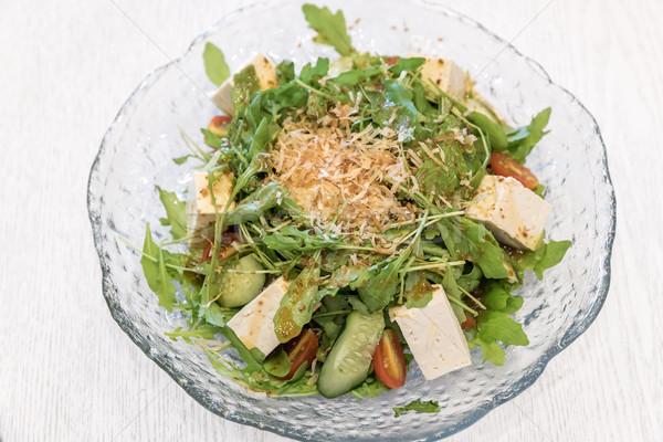 Tofu saláta étel tojás ázsiai japán Stock fotó © vichie81