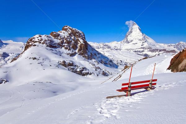 İsviçre kırmızı sandalye manzara logo Stok fotoğraf © vichie81
