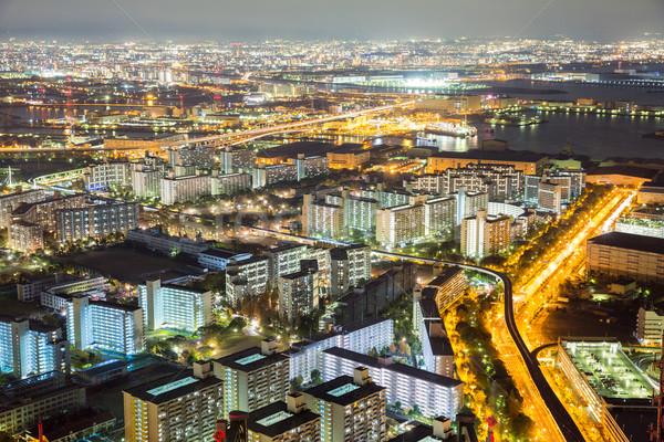 Osaka ufuk çizgisi Bina gece Japonya binalar Stok fotoğraf © vichie81
