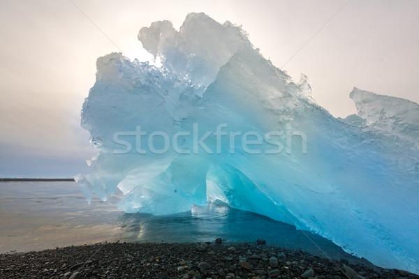 айсберг пляж Исландия Восход льда синий Сток-фото © vichie81