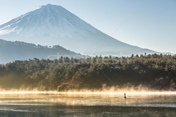 Górskich fuji jezioro zimą Świt wody Zdjęcia stock © vichie81
